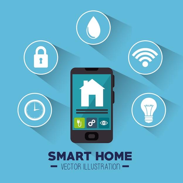 Icono de casa inteligente y sus aplicaciones aisladas vector gratuito