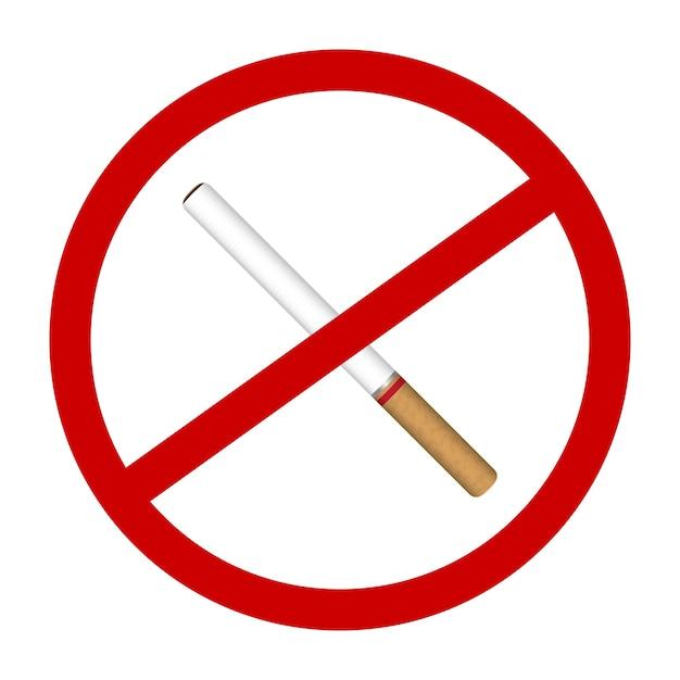 Un icono de cigarrillo sin humo signos vector Vector Premium