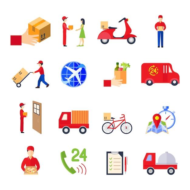 El icono colorido de la entrega plana fijó con la ilustración del vector del servicio personal de la orden del transporte vector gratuito