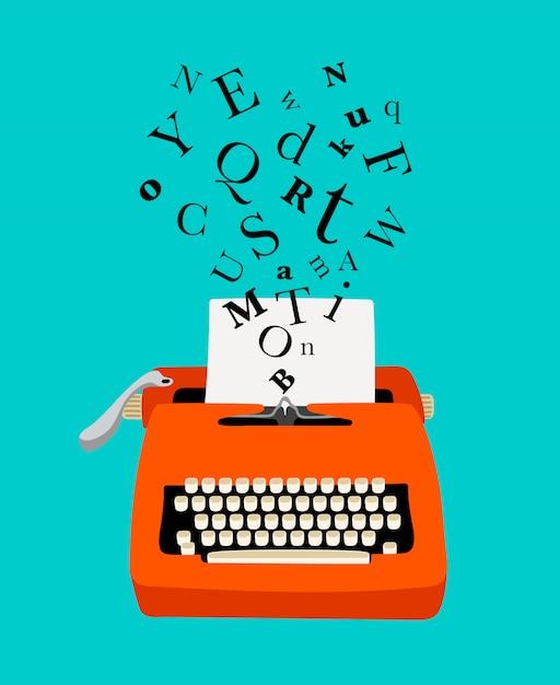 Icono colorido de la máquina de escribir Vector Premium
