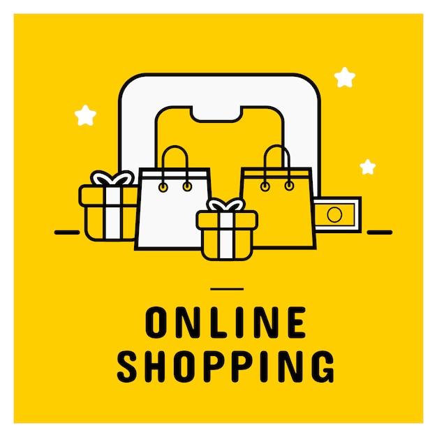 Icono de compras en línea establecer banner con teléfono inteligente. Vector Premium