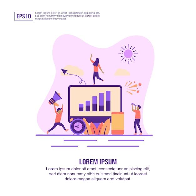 Icono de concepto de agencia de marketing digital con carácter Vector Premium