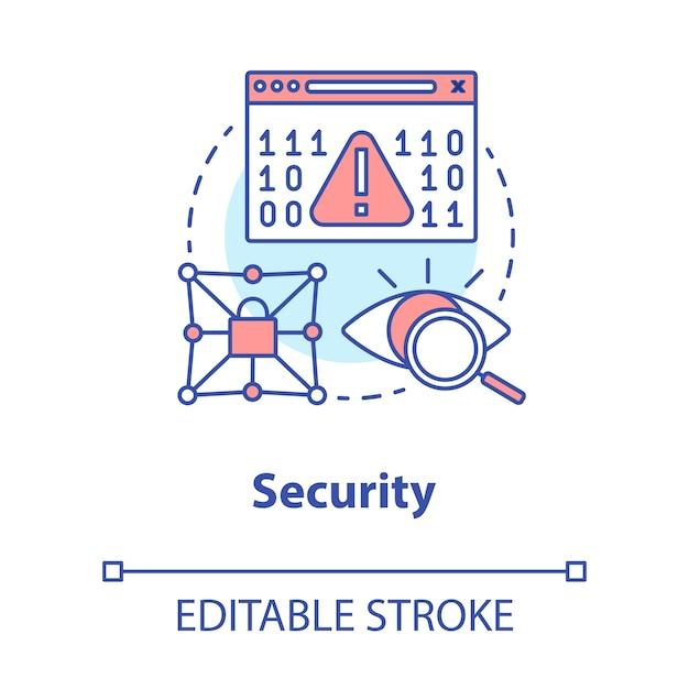 Icono del concepto de seguridad. ilustración de línea fina de idea de cifrado de datos Vector Premium