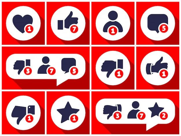 Icono de conjunto simple con comentarios de los usuarios Vector Premium