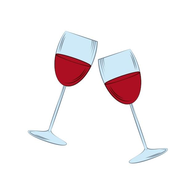 Icono de copas sobre fondo blanco. diseño colorido. ilustración vectorial Vector Premium