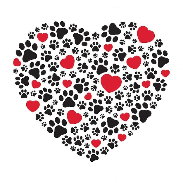 Icono de corazón de huella de pata de perro Vector Premium