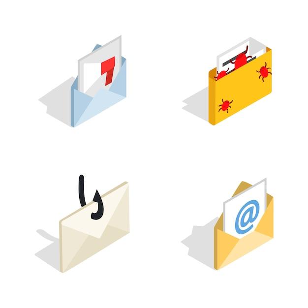 Icono de correo establecido sobre fondo blanco Vector Premium