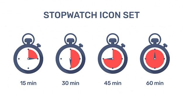 Icono de cronómetro cronómetro que establece el tiempo de trabajo en varios momentos. Vector Premium