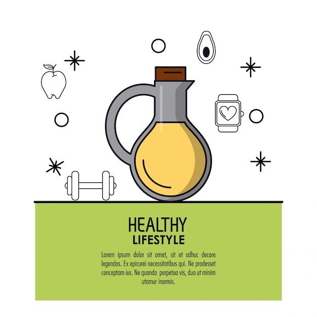 Icono de botella de aceite vegetal sobre marco verde claro ...