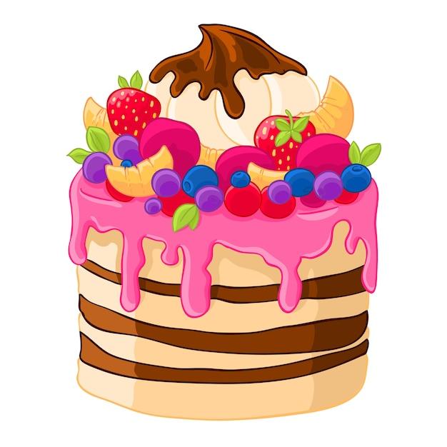 Icono de dibujos animados pastel dulce con fresas ...  Icono de dibujo...