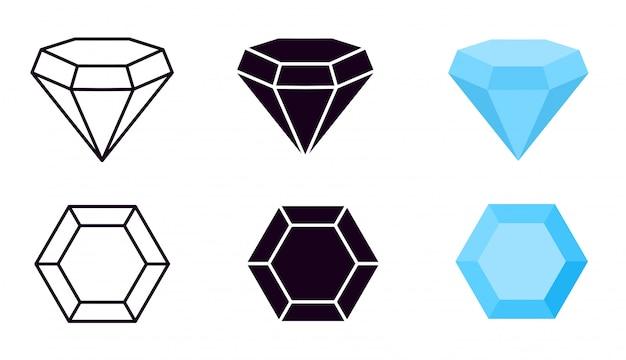 Icono de diamante. diamantes gemas, joyas diamantes piedras preciosas de lujo y brillantes. línea, silueta negra y señales vectoriales planas azules Vector Premium