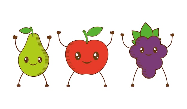 Icono De Dibujos Animados De Pera, Manzana Y Uva
