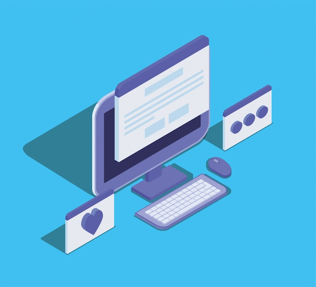 Icono de dispositivo de tecnología de computadora de escritorio Vector Premium