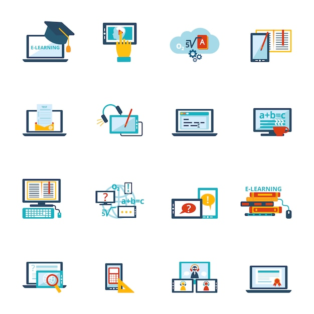 Icono de e-learning plano vector gratuito