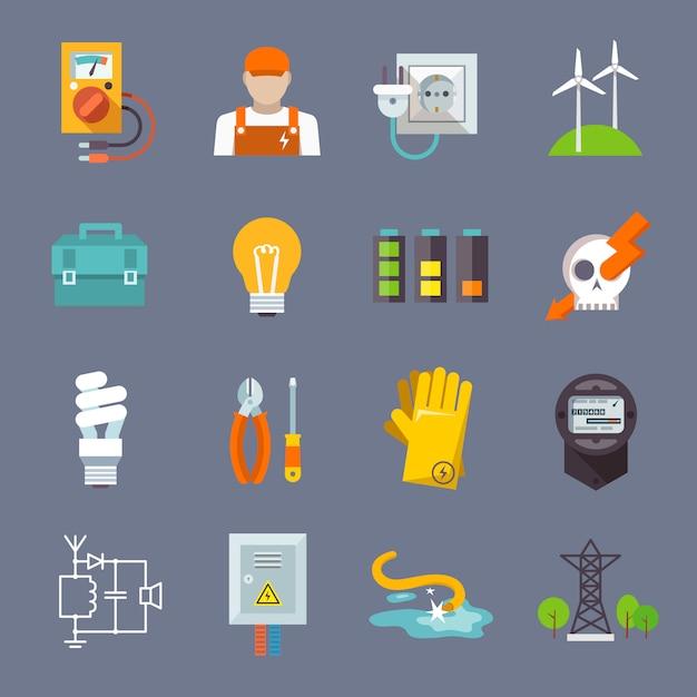 Icono de electricidad plana vector gratuito