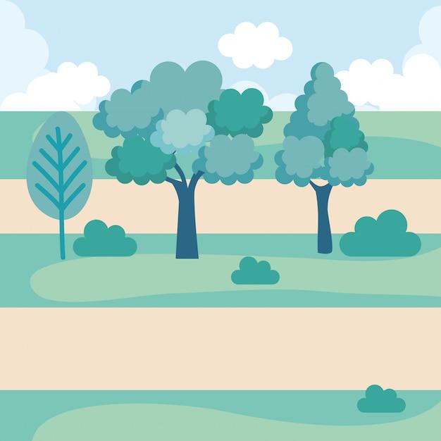Icono de escena del parque del paisaje vector gratuito