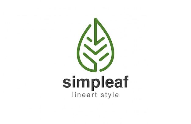 Icono de estilo lineal abstracto de logotipo de hoja vector gratuito