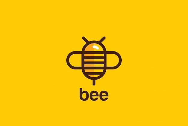 Icono de estilo lineal de logotipo de abeja. vector gratuito