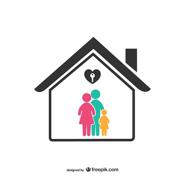 Icono de familia colorida y casa Vector Premium