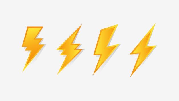Icono de flash thunder bolt Vector Premium