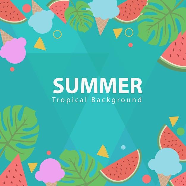 Icono y fondo tropical de verano Vector Premium