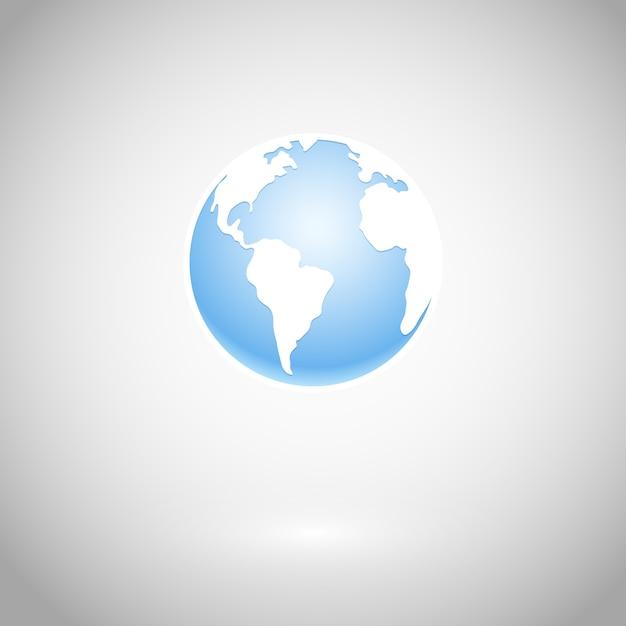 Icono de globo y mapa blanco ilustración vectorial vector gratuito