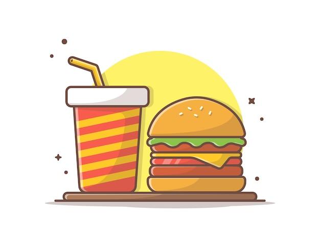 Icono de hamburguesa con soda y hielo Vector Premium