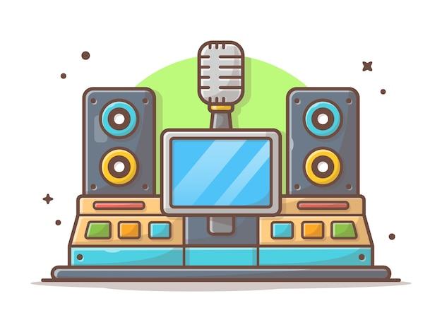 Icono de icono de estudio de música. estudio de la industria de grabación moderna con altavoz, micrófono blanco aislado Vector Premium