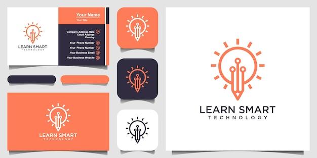 Icono de idea bombilla y lápiz con placa de circuito interior. concepto de idea de negocio. lámpara formada por conectores de chip. logotipo y tarjeta de visita Vector Premium