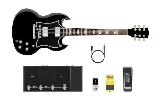 Ícono de instrumentos musicales, guitarra y amplificador. Vector Premium