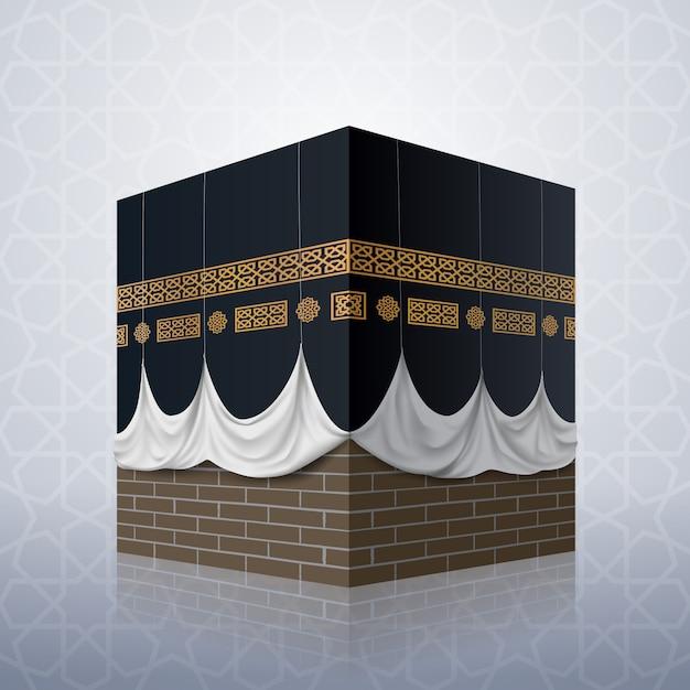 Ícono islámico realista de la mezquita kaaba Vector Premium