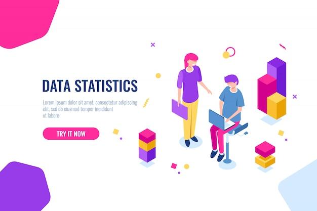 Icono isométrico del equipo de consultoría de negocios, proceso de optimización seo, procesamiento y análisis de datos vector gratuito