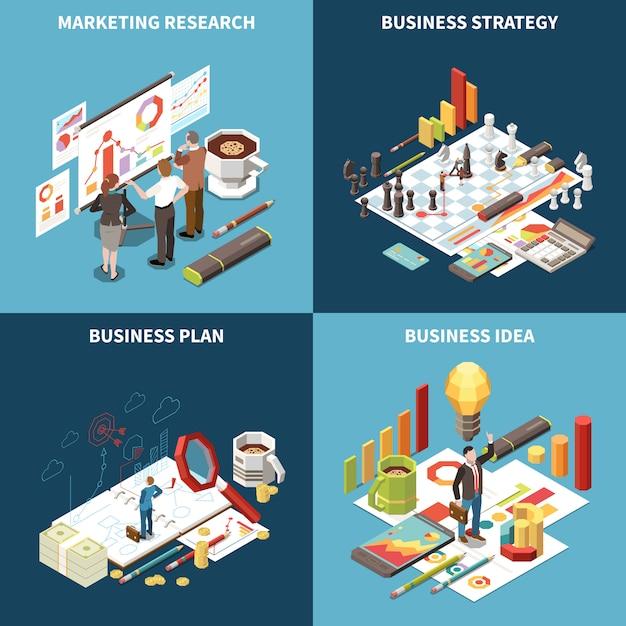 Icono isométrico de estrategia empresarial con ilustración de descripciones de idea y plan de estrategia comercial de investigación de mercado vector gratuito