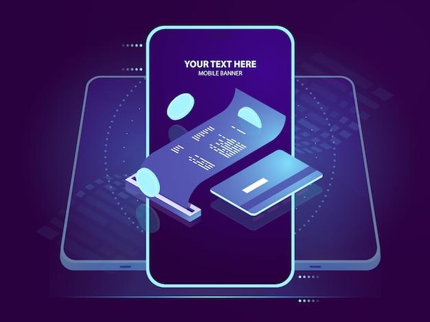 Icono isométrico de pago de electrones, recibo de pago con tarjeta de crédito, seguridad bancaria en línea vector gratuito
