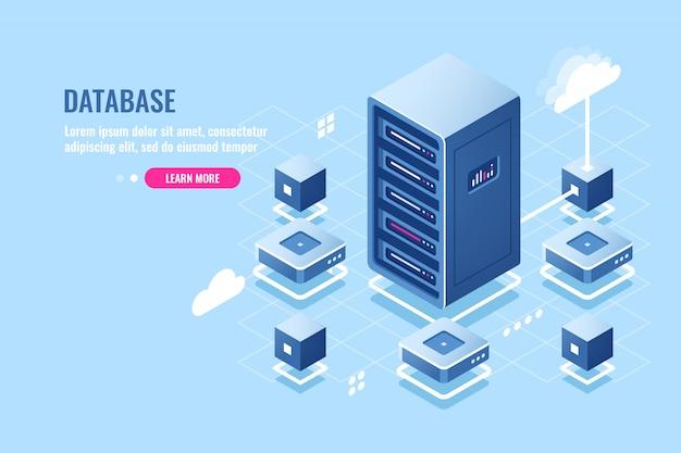 Icono isométrico de la sala de servidores, conexión a la base de datos, transferencia de datos en el almacenamiento remoto en la nube, rack de servidores, vector gratuito