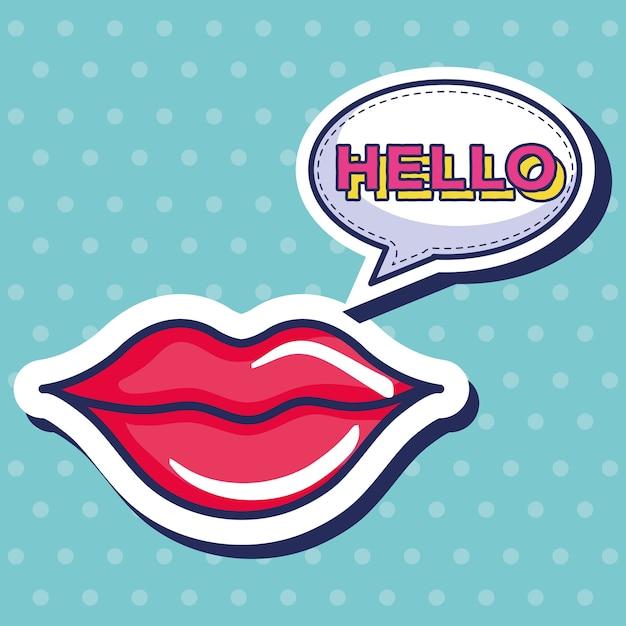 Icono de labios de mujer sexi Vector Premium