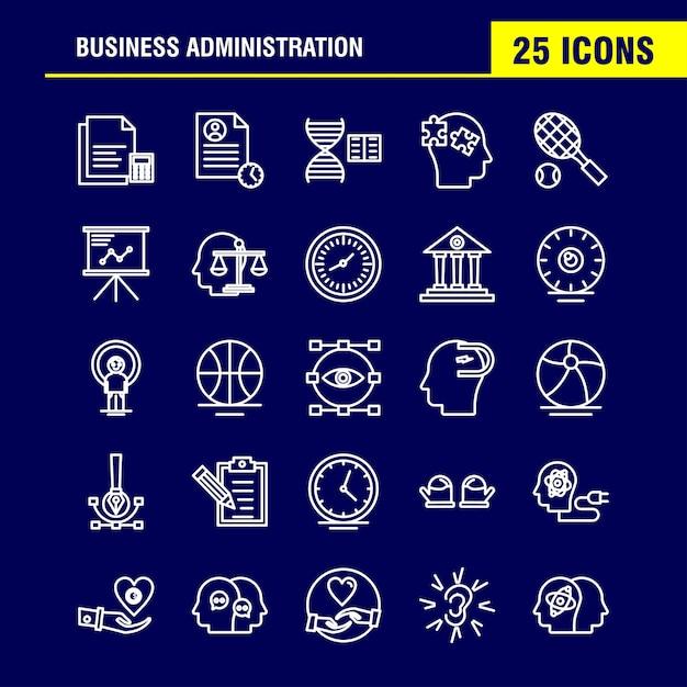 Icono de línea de administración de empresas vector gratuito