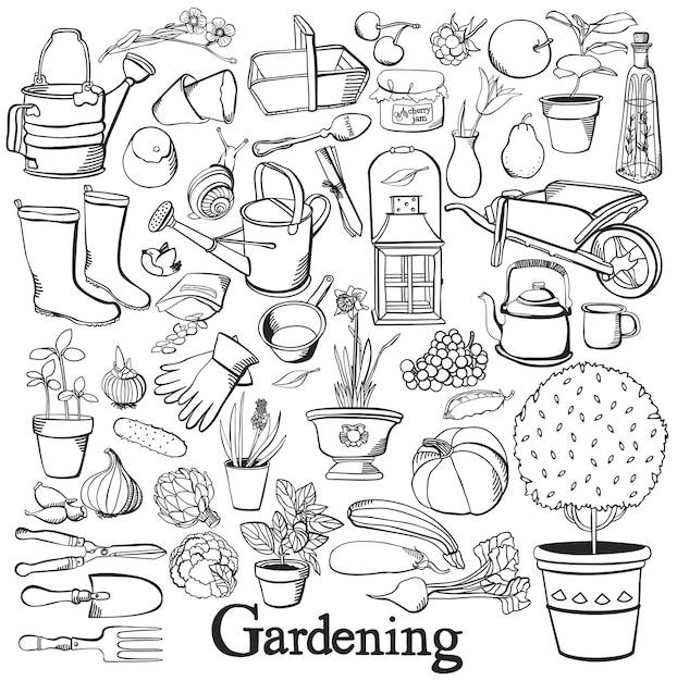 Icono de la línea de jardinería conjunto de la doodle de jardinería vector gratuito