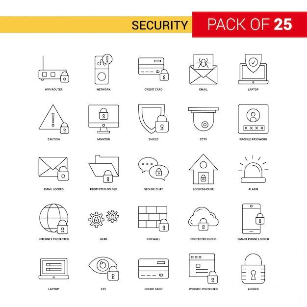 Icono de línea negra de seguridad - 25 conjunto de iconos de esquema de negocios vector gratuito