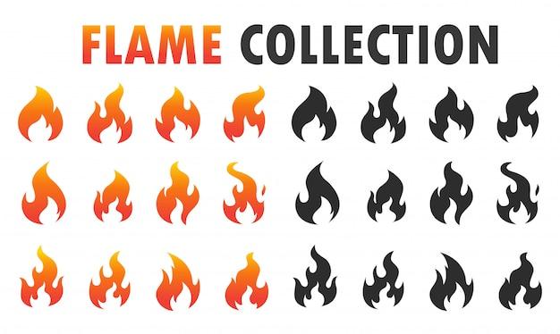Icono de llama ardiendo para comida picante. Vector Premium
