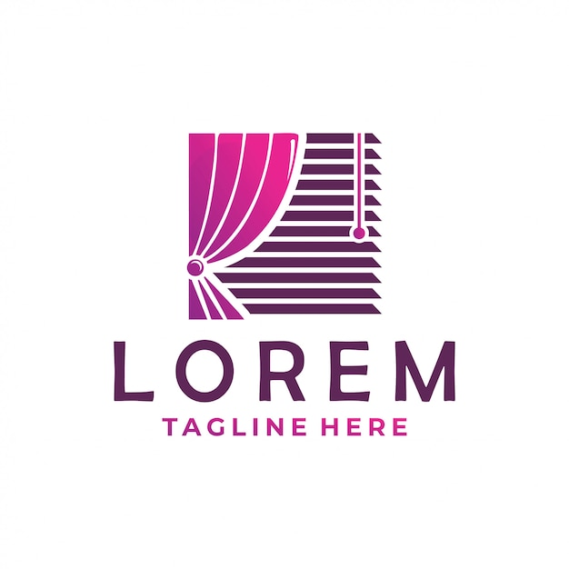 Icono del logo de la cortina Vector Premium