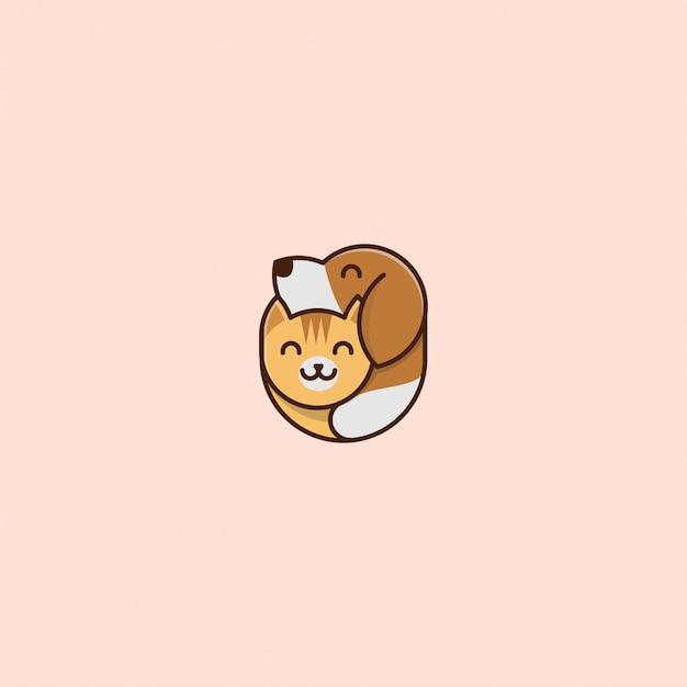 Icono logo mascota perro y gato Vector Premium