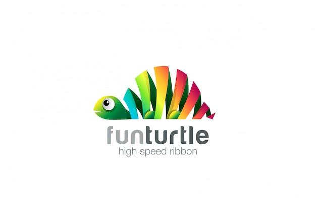 Icono de logotipo abstracto tortuga cinta colorida. vector gratuito