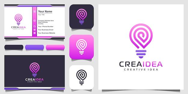 Icono de logotipo de bombilla inteligente tecnología y tarjeta de visita. diseño de logotipo de bombilla colorido. idea creativa bombilla logo. idea de tecnología de logotipo digital de bombilla Vector Premium