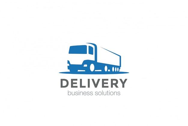 Icono de logotipo de camión de reparto Vector Premium