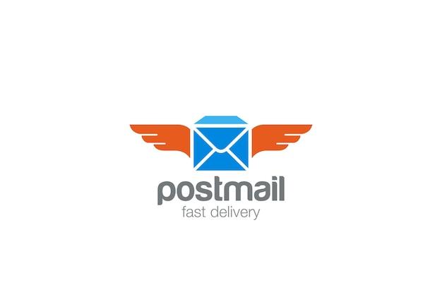 Icono de logotipo de correo postal. Vector Premium