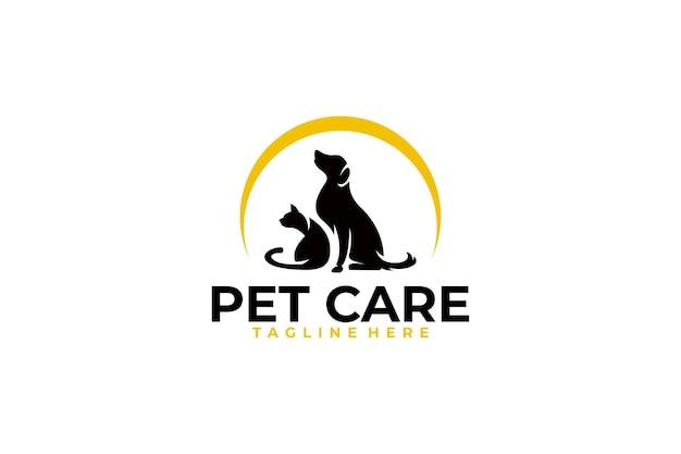 Icono de logotipo de cuidado de mascotas Vector Premium