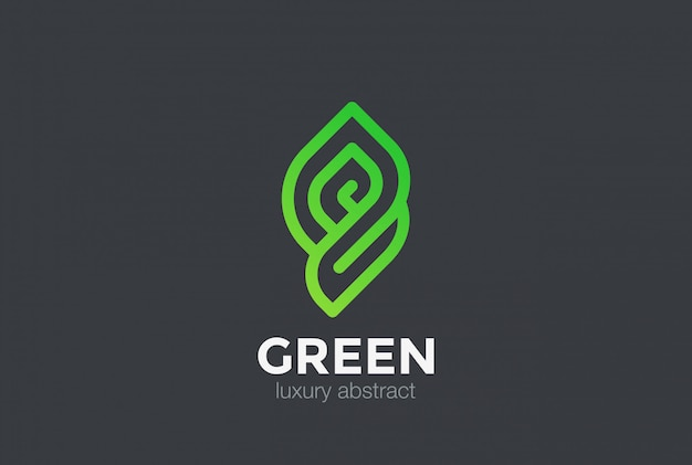 Icono del logotipo de eco bio green abstract. estilo lineal vector gratuito