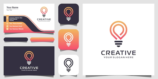 Icono de logotipo de lámpara de bombilla inteligente creativa y diseño de tarjeta de visita Vector Premium