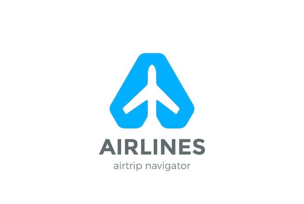 Icono del logotipo del puntero del navegador del avión. estilo de espacio negativo. vector gratuito